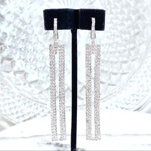 "Prom Pageant Bridal Jewelry - 3"" Geometric Rhinestone Prom Pageant Bridal Earrin"